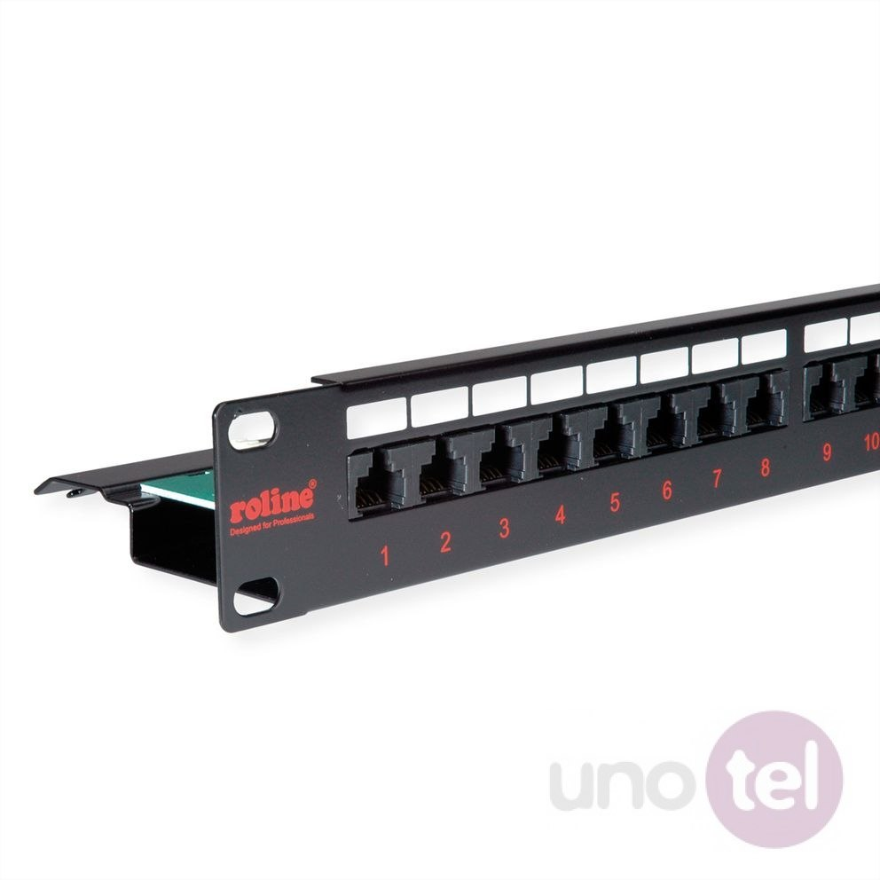 "Patch Panel UTP Kat.6 24xRJ45 19"" czarny ROLINE"